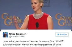 A journalist has stuck up for J-Law after her 'rude' Golden Globes behaviour… It's The Dredge