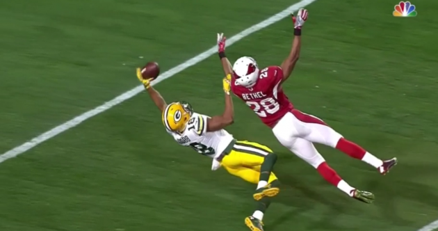 Receiver makes brilliant one-handed circus catch... but it didn't count AND he was carted off injured