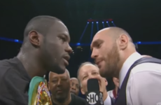 Tyson Fury stormed the ring and demanded a fight with Deontay Wilder after the American's win