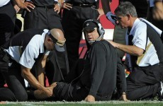 WATCH: An NFL coach break his leg... while on the sidelines