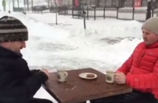 Two Irish lads sat down for a nice cuppa tea in the middle of Storm Jonas