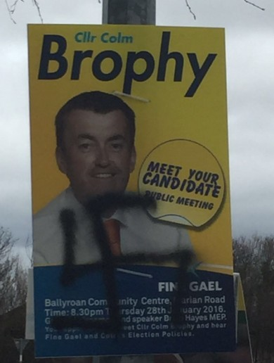 Fine Gael councillor's posters defaced with swastikas