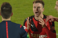 Rangers player sent off for 'taunting' opposition fans after goal