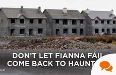 Fine Gael are using ghost estates on their posters, but little has been done to stop it happening again