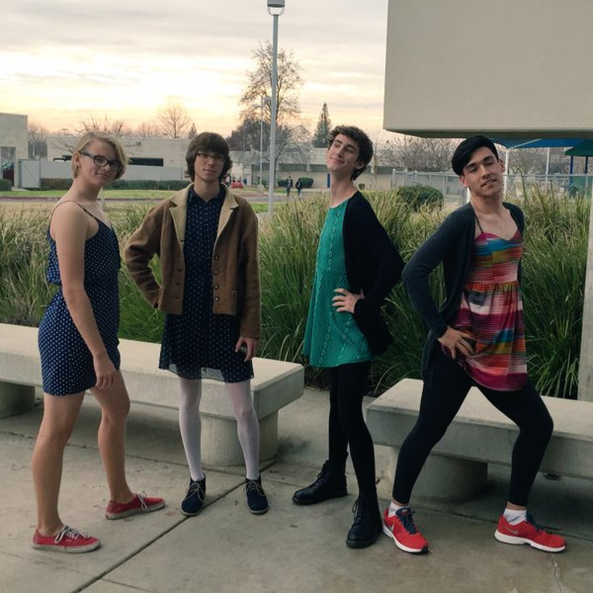 A group of young lads wore dresses to school to protest the harsh dress code