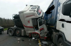 M1 lane blocked after crash between two heavy-goods lorries