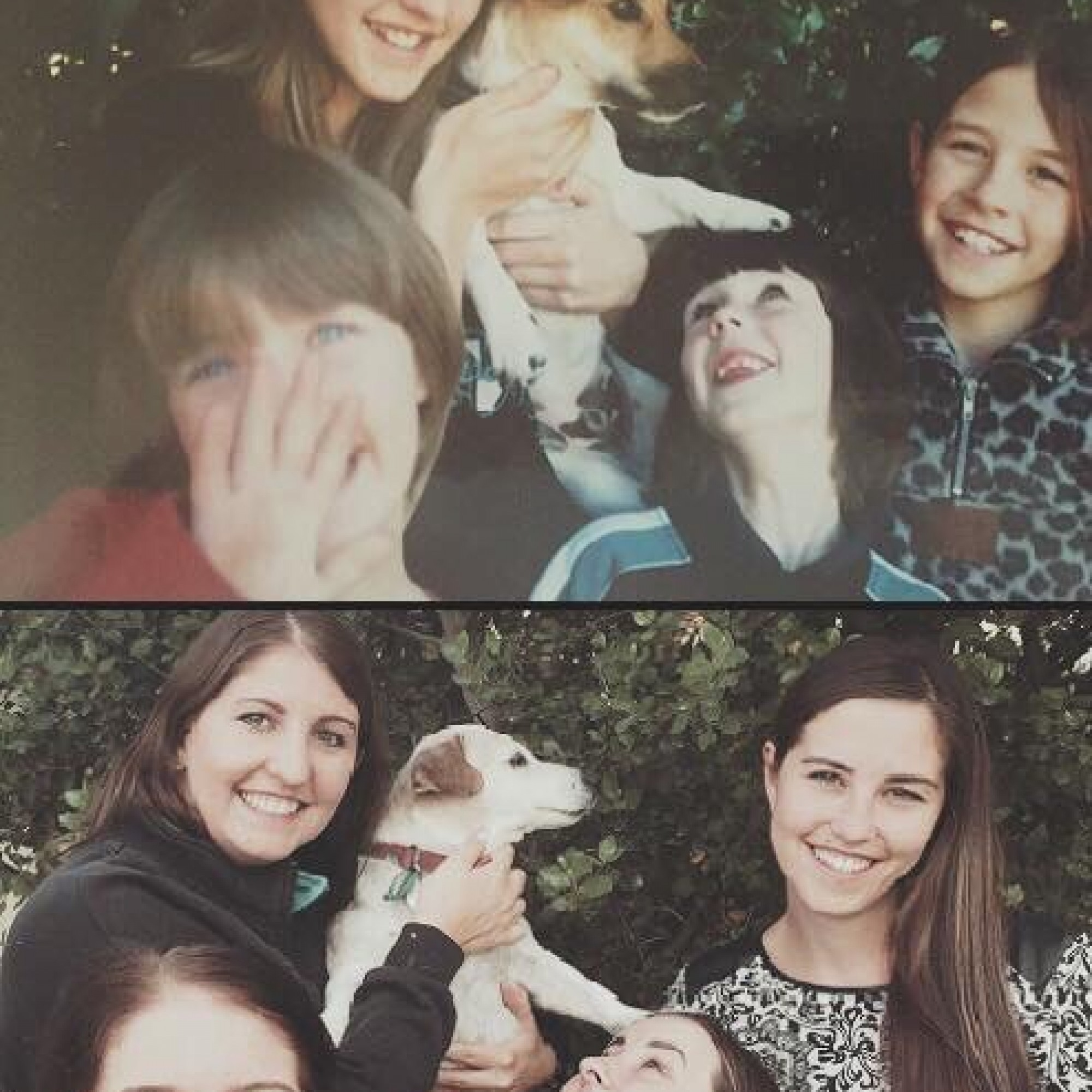 These sisters recreated a touching photo with their pet dog before he died
