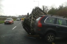 Overturned vehicle blocking traffic on the M50