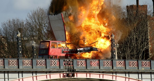 Some people weren't too happy filmmakers were allowed blow up a bus in London today