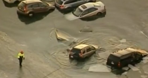 This is why it's never a good idea to park your car on a frozen lake...