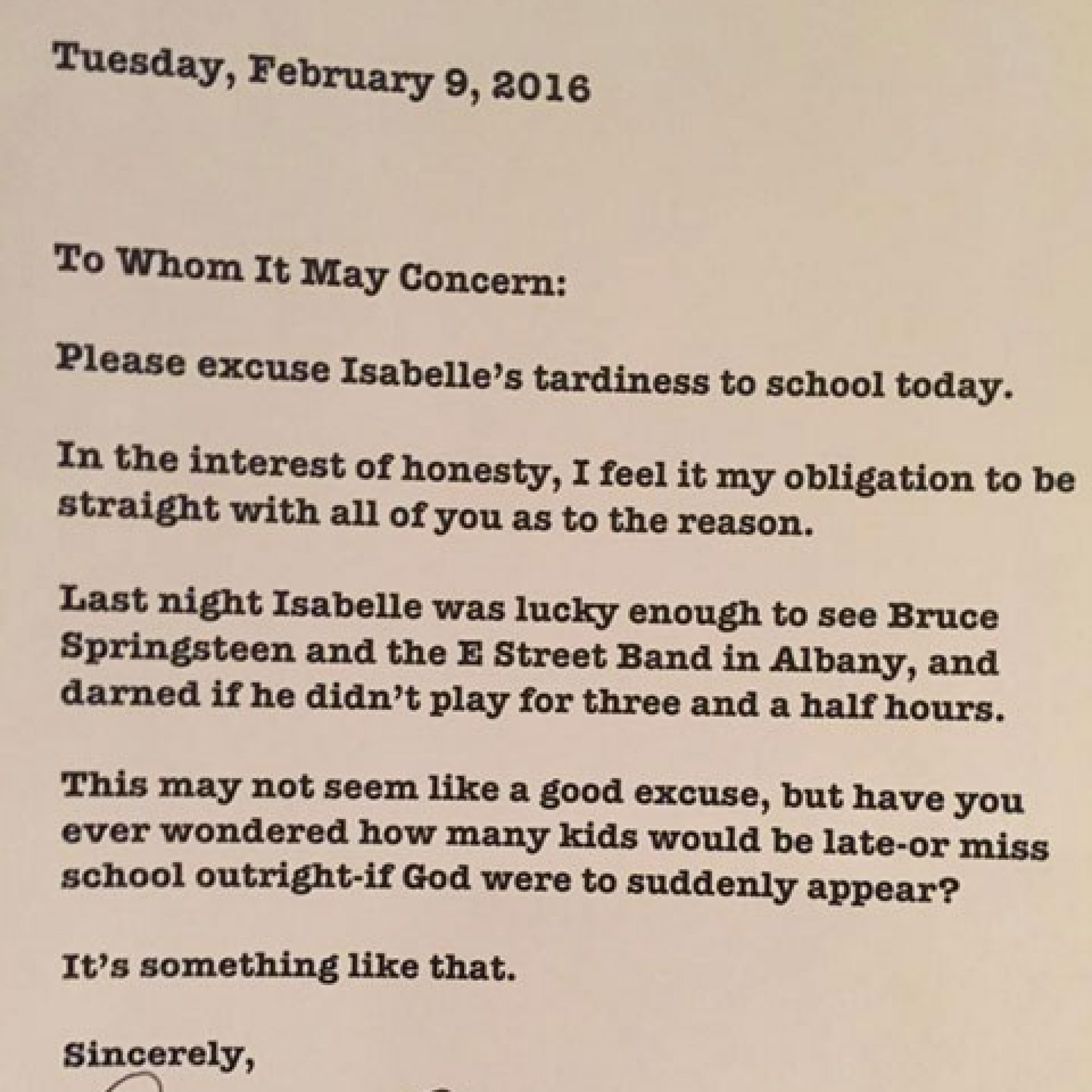 A dad took his daughter to a Springsteen concert, wrote her amazing late note