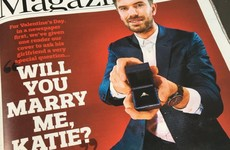 A man proposed to his girlfriend on the cover of today's Observer magazine
