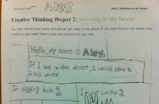 This kid gave a NSFW solution for his desert survival method homework