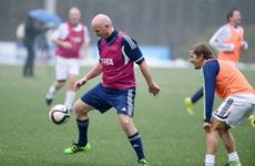 The new Fifa president enjoyed a kick around with a host of football legends on his first day