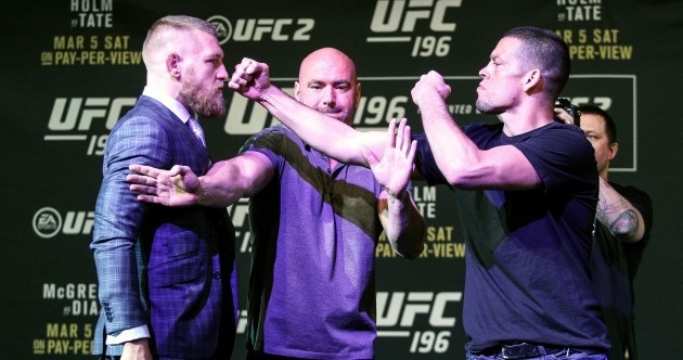 It almost kicked off between McGregor and Diaz tonight in Vegas
