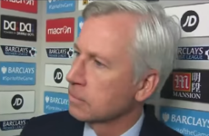 Alan Pardew gave a tense interview after Palace's late loss to Liverpool yesterday