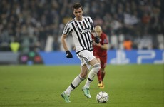 Juventus striker Mario Mandzukic runs the length of the pitch to make last-ditch challenge