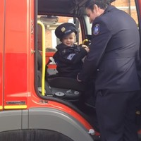 This heroic little Garda led the Drogheda Paddy's Day parade yesterday