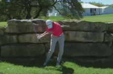 Golfer hits a wall, completely misses his ball, concedes match with injury