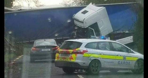 A jack-knifed truck has completely blocked this Limerick road