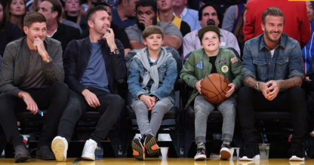 Robbie Keane spent an evening with Stevie G and the Beckhams watching the Lakers