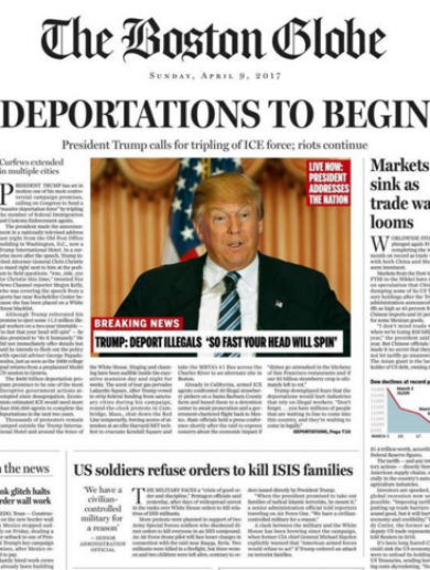 Boston Globe fake front page imagines 'deeply disturbing' Trump presidency