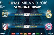Man City and Real Madrid will meet in the Champions League semi-final