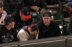 Watch: Woman forced to hide in shame after baseball fan picks up a live ball