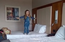 This little Irish girl tried to fly in a hotel room but didn't quite pull it off