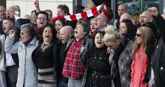 Watch: Hillsborough families greet inquest verdicts with emotional 'You'll Never Walk Alone'