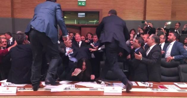 WATCH: Turkish parliament erupts in violence for the third time in a week