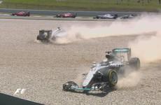 Mercedes team-mates Hamilton and Rosberg crash within seconds of Spanish GP start