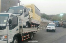 A man was fined for speeding with three trucks stacked on top of each other
