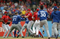 Right-hand haymaker sparks second base brawl between Rangers and Blue Jays