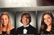 These triplets pulled off the corniest joke in their final yearbook