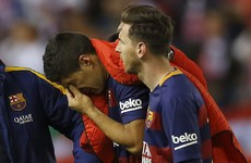Tearful Luis Suarez limps out of Cup final