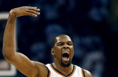 Durant and Westbrook throw down a combined 63 as Thunder roll over Warriors