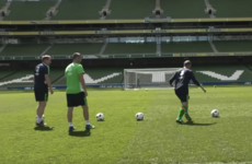 Watch: Roy takes on Robbie in the Keano Crossbar Challenge