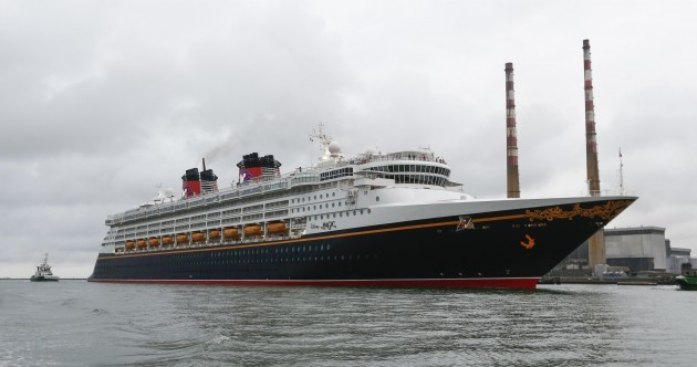 The Disney Magic cruise ship just docked in Dublin and it's Donald Duck-ing huge