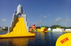 The world's largest inflatable water slide is on a lake in Athlone right now