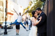 This couple just realised one of their wedding photos contains a brilliant photobomb