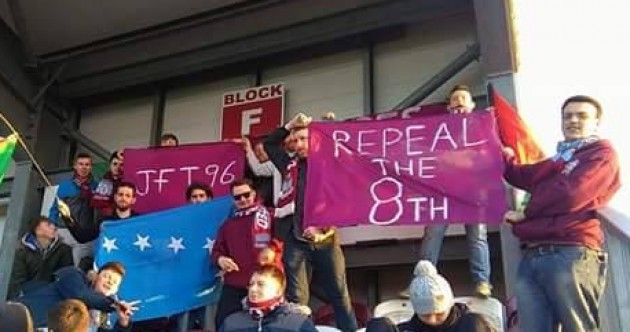 Supporters hold strong after football fan is banned from Galway ground for pro-choice banner