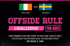 "This Dublin pub is offering free drinks to ""any girl who can explain the offside rule"""