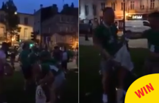 The Irish fans didn't stop the party even when cleaning up after themselves