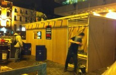 Occupy Dame Street builds wooden kitchen in front of Central Bank