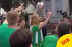 This video of an Irish fan in a horse mask nailing a deadly trick shot is going crazy