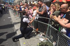 A police officer stopped the London Pride parade so he could propose to his boyfriend