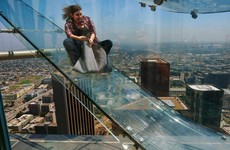 There's a glass slide on top of a skyscraper in LA and it's absolutely terrifying