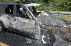 Heavy delays on M50 after car goes on fire