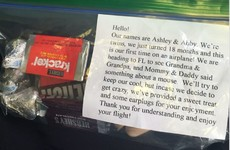 These parents handed out sweets to plane passengers to apologise for their crying babies